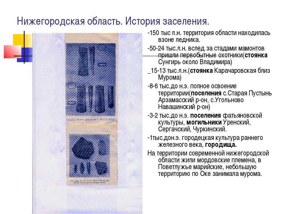Нижегородская область. История заселения. -150 тыс л.н. территория области на...
