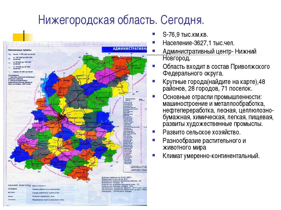 Нижегородская область. Сегодня. S-76,9 тыс.км.кв. Население-3627,1 тыс.чел. А...