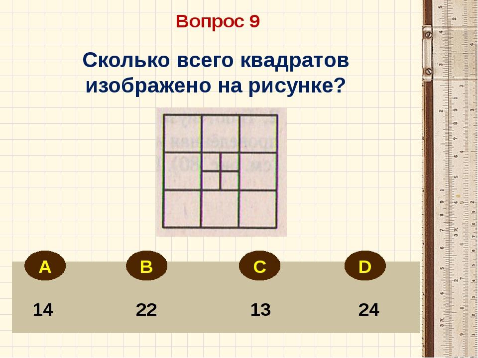 Вопрос 9 14 22 13 24 Сколько всего квадратов изображено на рисунке? А В С D