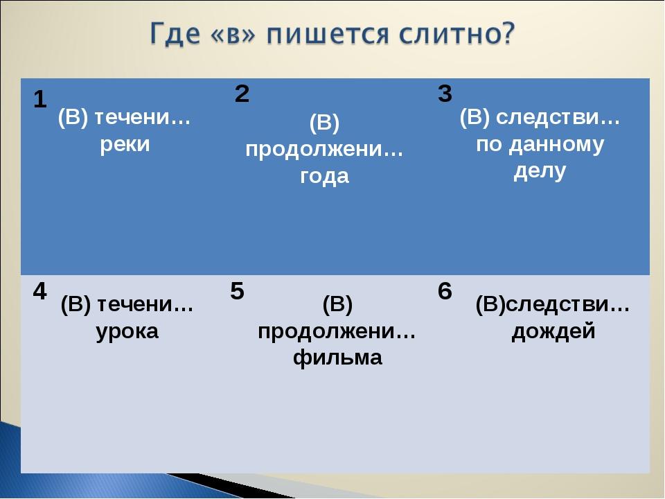 1 2 3 4 5 6 (В) течени… реки (В) продолжени… года (В) следстви… по данному де...