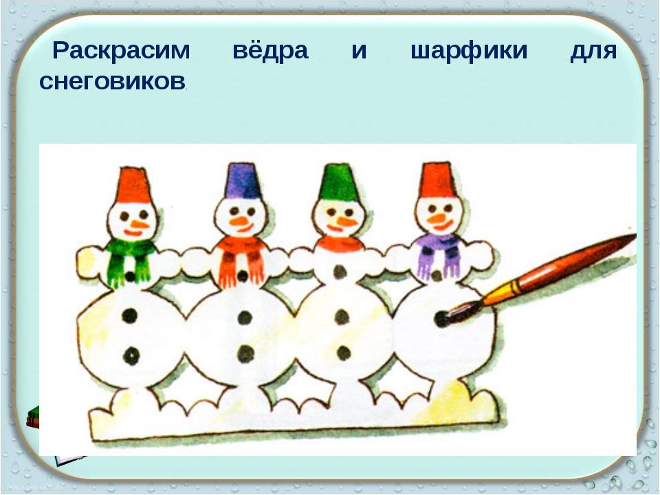 Раскрасим вёдра и шарфики для снеговиков.