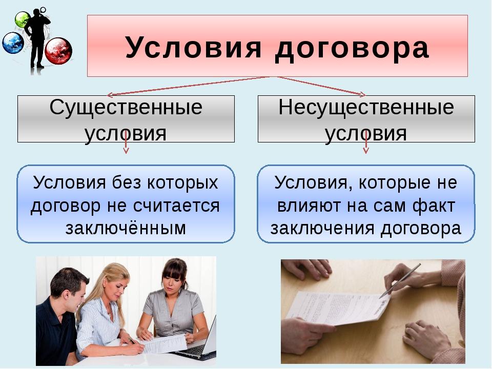Условия договора Существенные условия Несущественные условия Условия без кото...