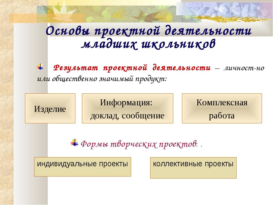 Основы проектной деятельности младших школьников Информация: доклад, сообщени...