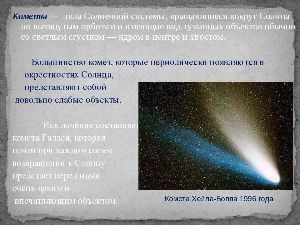 Кометы — тела Солнечной системы, вращающиеся вокруг Солнца по вытянутым орбит...
