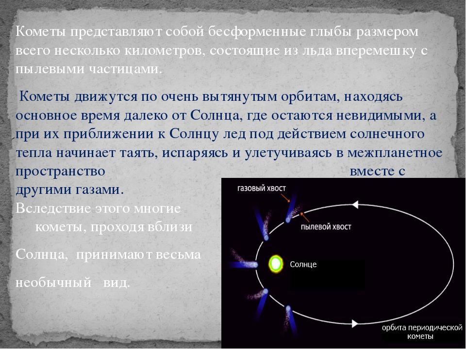Кометы представляют собой бесформенные глыбы размером всего несколько километ...