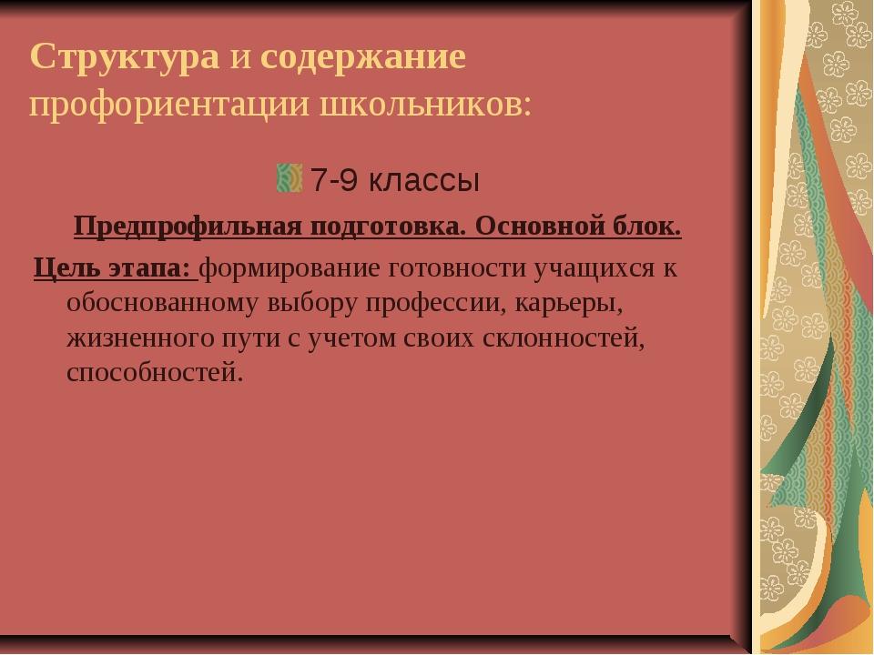 Структура и содержание профориентации школьников: 7-9 классы Предпрофильная п...