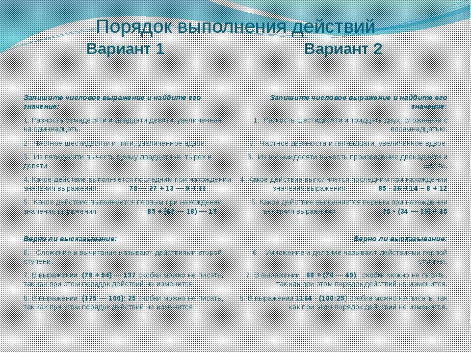 Порядок выполнения действий Вариант 1 Вариант 2 Запишите числовое выражение и...