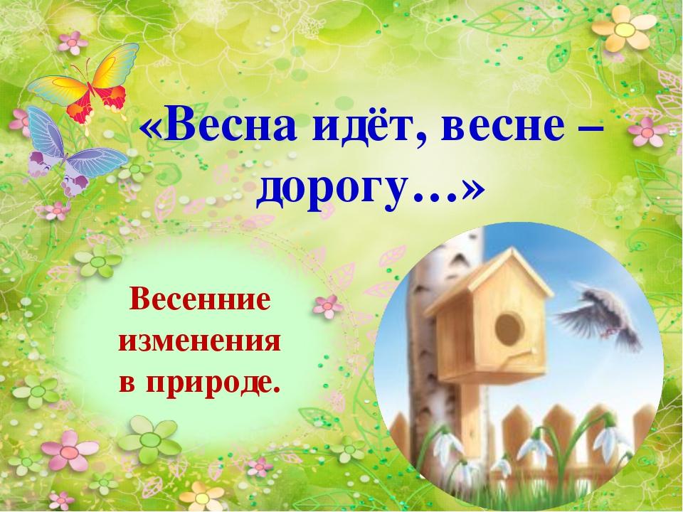 Весенние изменения в природе. «Весна идёт, весне – дорогу…»