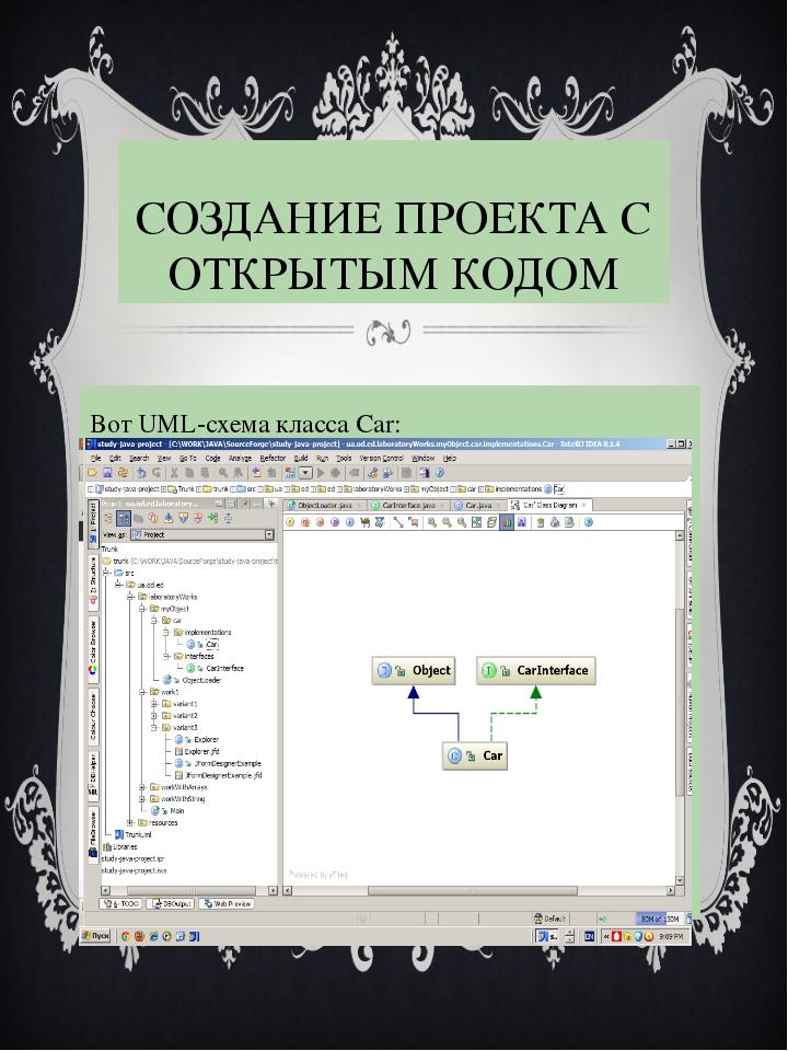СОЗДАНИЕ ПРОЕКТА С ОТКРЫТЫМ КОДОМ Вот UML-схема класса Car:
