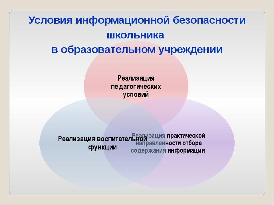 Условия информационной безопасности школьника в образовательном учреждении
