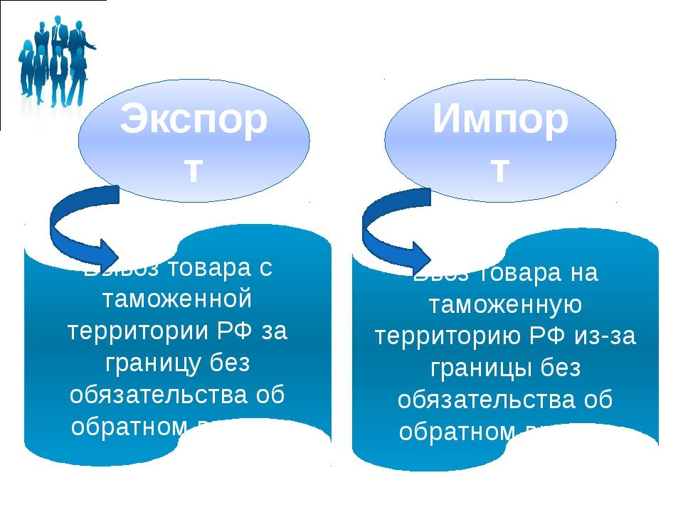 Экспорт Импорт Вывоз товара с таможенной территории РФ за границу без обязате...