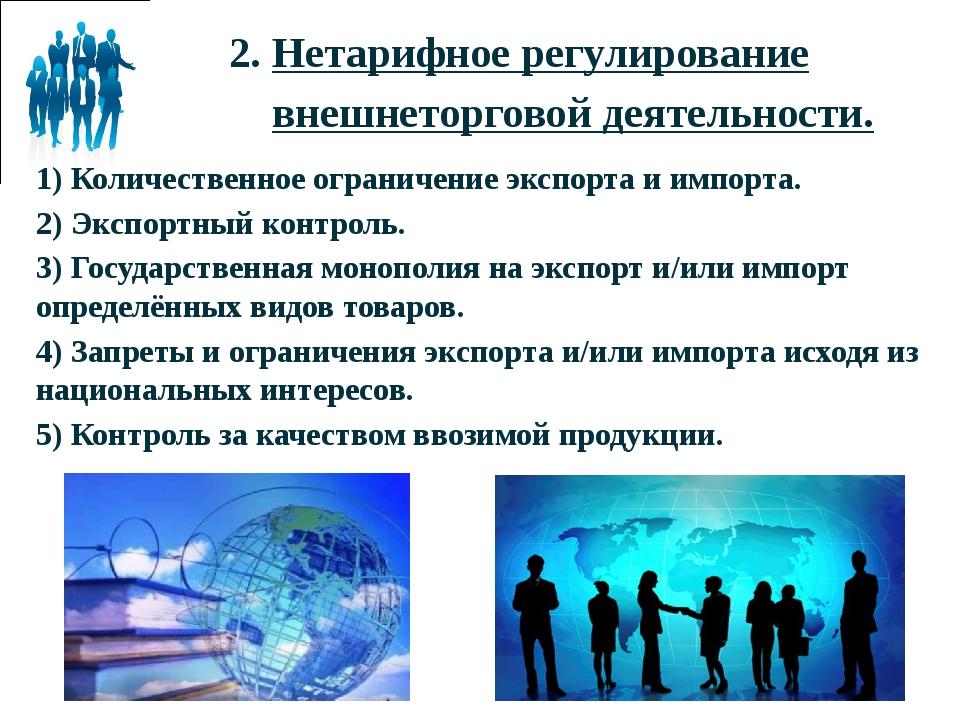2. Нетарифное регулирование внешнеторговой деятельности. 1) Количественное о...
