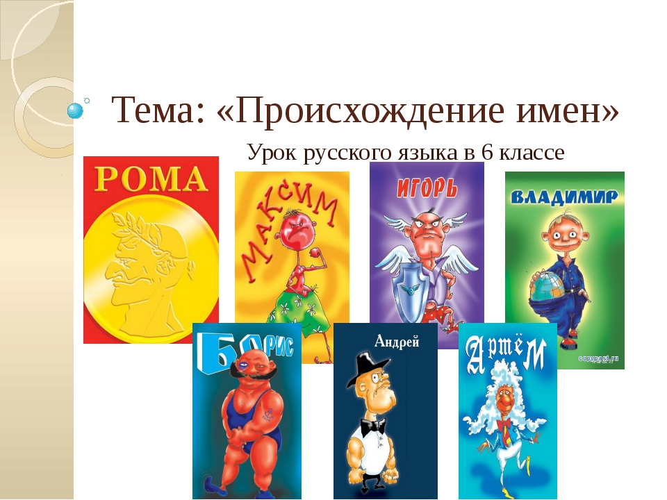 Тема: «Происхождение имен» Урок русского языка в 6 классе