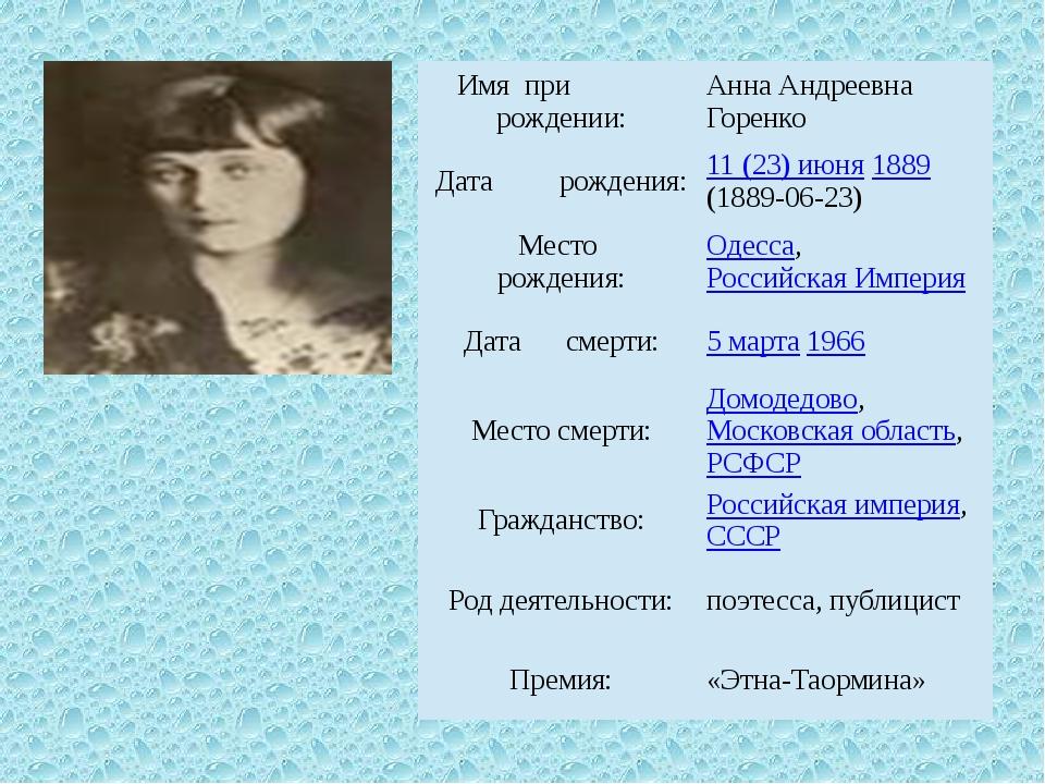 Имя при рождении: Анна Андреевна Горенко Датарождения: 11 (23) июня1889(1889-...