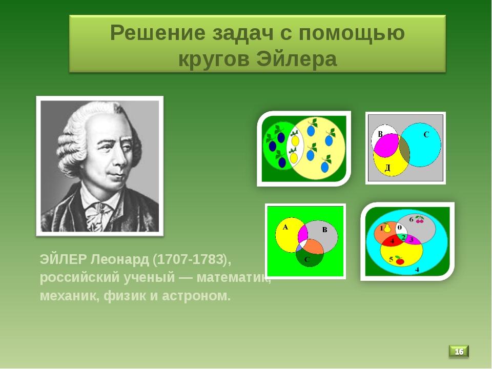 ЭЙЛЕР Леонард (1707-1783), российский ученый — математик, механик, физик и а...