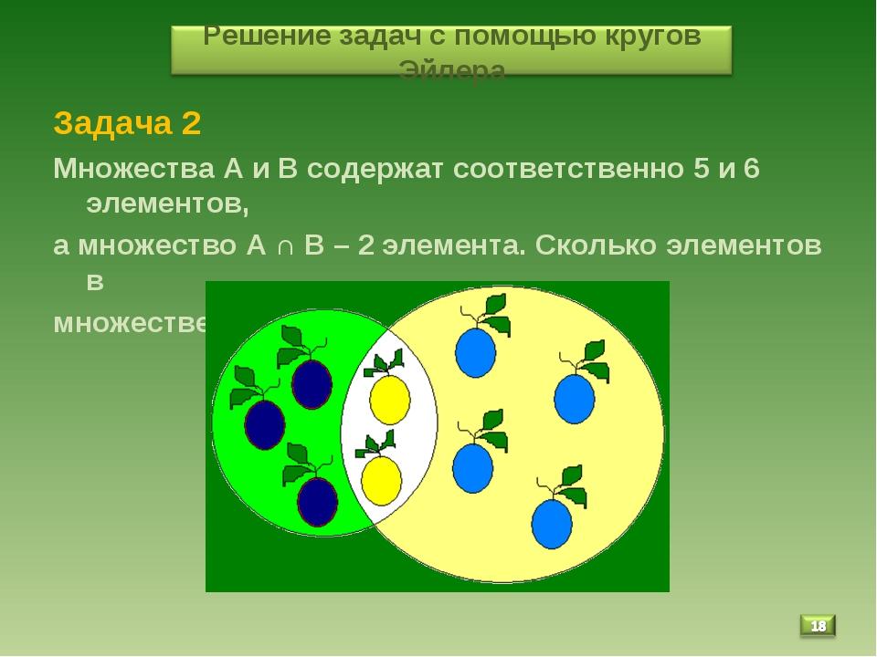 Задача 2 Множества А и В содержат соответственно 5 и 6 элементов, а множество...