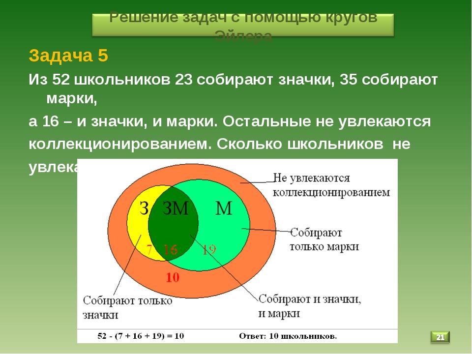 * Задача 5 Из 52 школьников 23 собирают значки, 35 собирают марки, а 16 – и з...