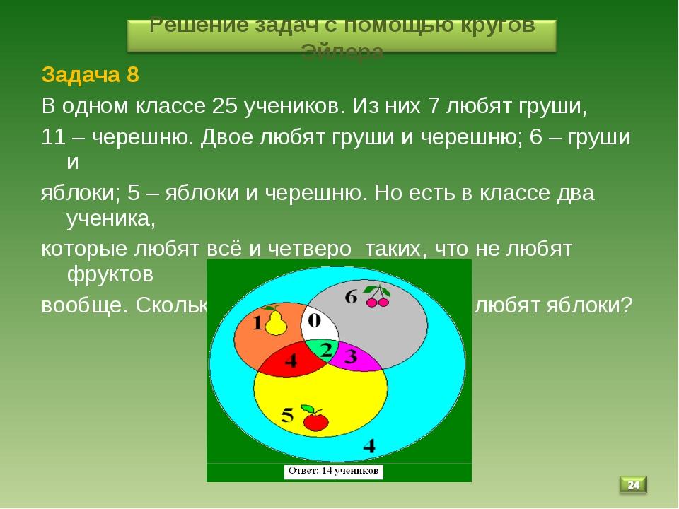 * Задача 8 В одном классе 25 учеников. Из них 7 любят груши, 11 – черешню. Дв...