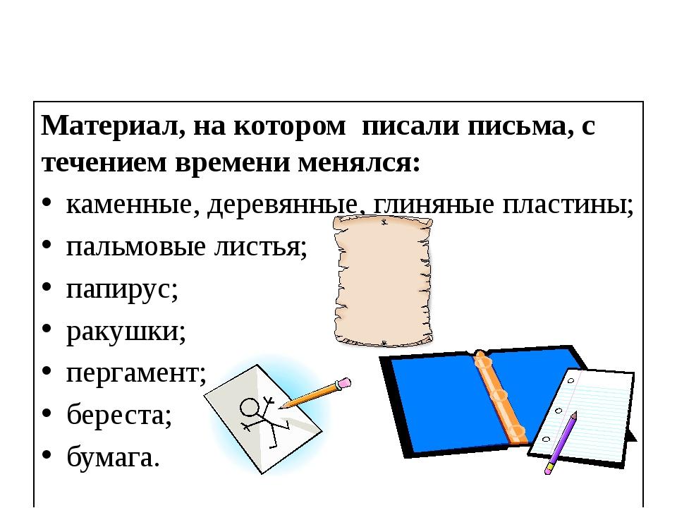 Материал, на котором писали письма, с течением времени менялся: каменные, дер...