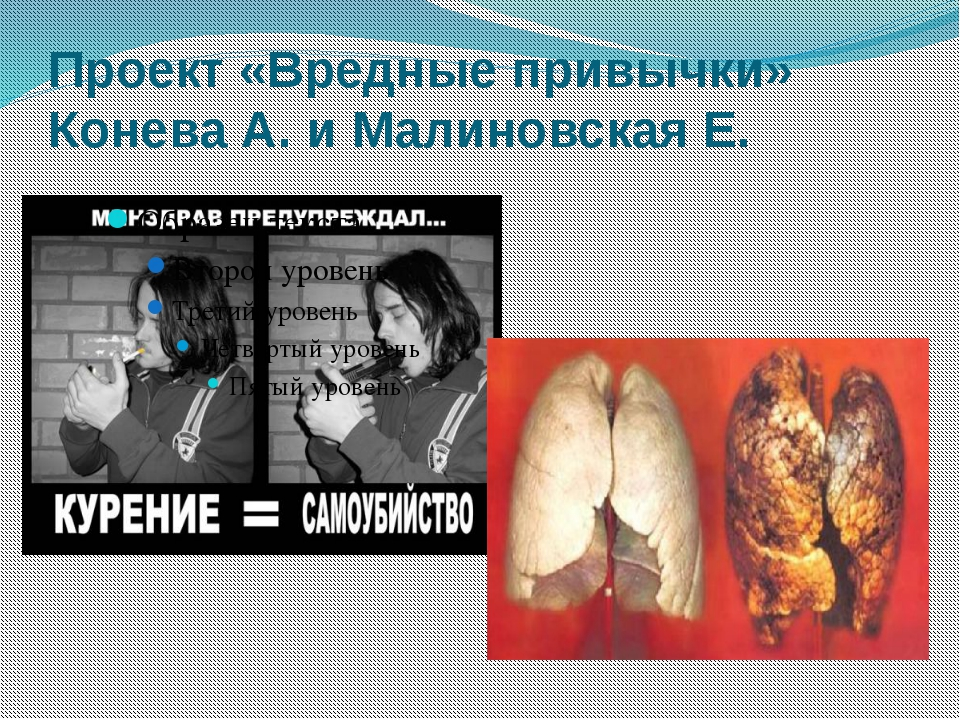 Проект «Вредные привычки» Конева А. и Малиновская Е.