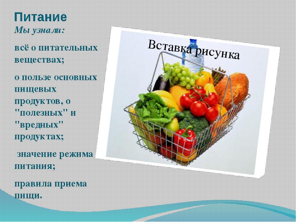 Питание Мы узнали: всё о питательных веществах; о пользе основных пищевых про...