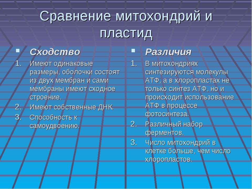 Сравнение митохондрий и пластид Сходство Имеют одинаковые размеры, оболочки с...