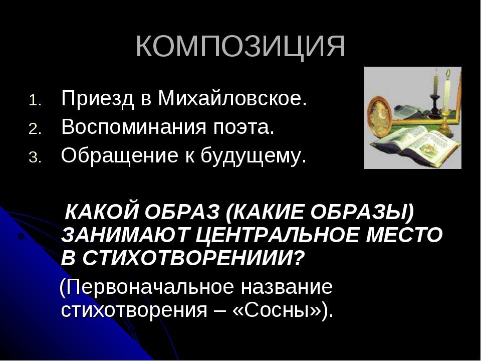 КОМПОЗИЦИЯ Приезд в Михайловское. Воспоминания поэта. Обращение к будущему. К...