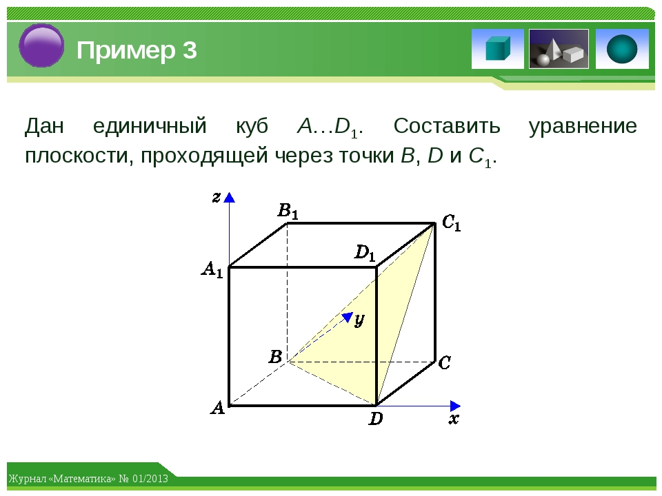 Пример 3 Дан единичный куб A…D1. Составить уравнение плоскости, проходящей че...