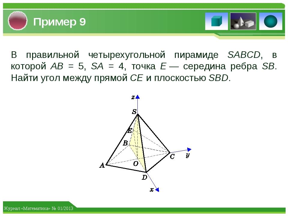 Пример 9 В правильной четырехугольной пирамиде SABCD, в которой AB = 5, SA =...