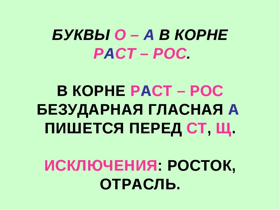 БУКВЫ О – А В КОРНЕ РАСТ – РОС. В КОРНЕ РАСТ – РОС БЕЗУДАРНАЯ ГЛАСНАЯ А ПИШЕТ...