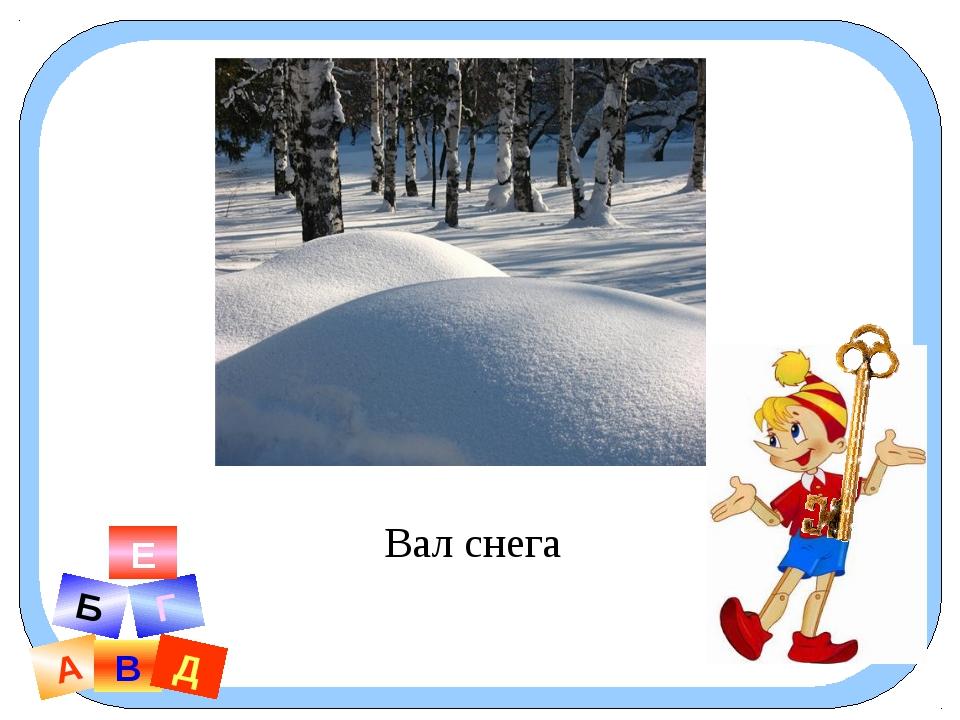 А В Б Г Д Е Вал снега