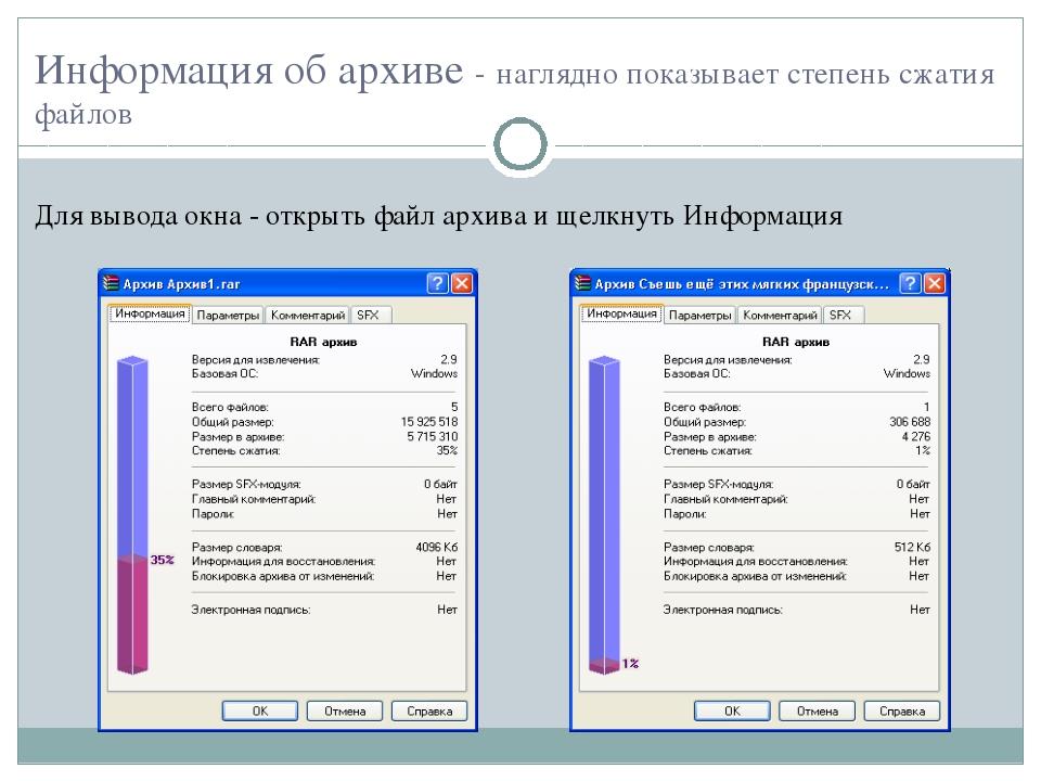 Информация об архиве - наглядно показывает степень сжатия файлов Для вывода о...