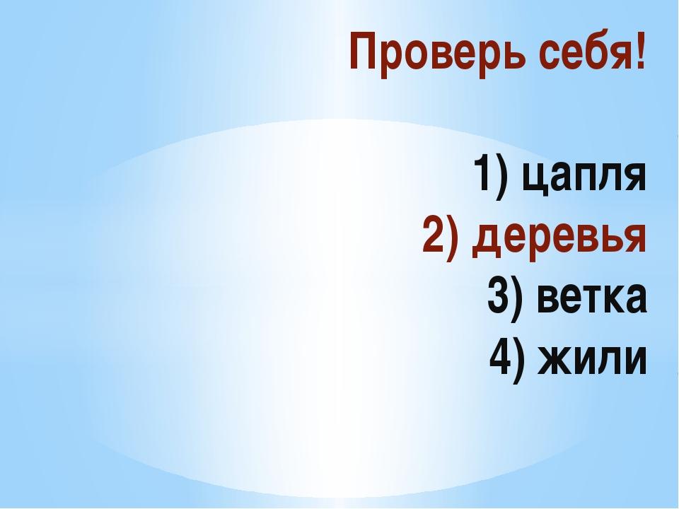 Проверь себя!  1) цапля 2) деревья 3) ветка 4) жили
