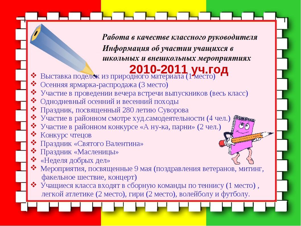 2010-2011 уч.год Выставка поделок из природного материала (1 место) Осенняя...