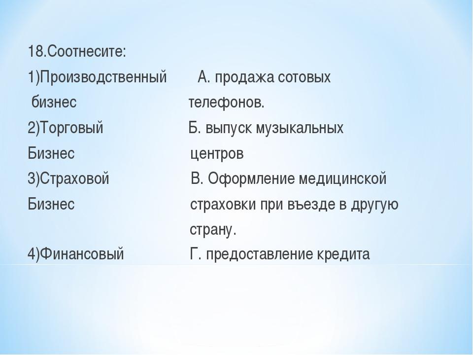 18.Соотнесите: 1)Производственный А. продажа сотовых бизнес телефонов. 2)Торг...
