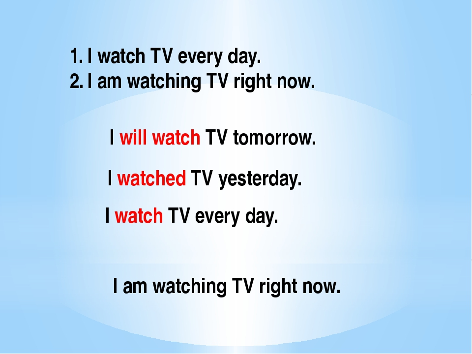 I watch TV every day. I am watching TV right now. I will watch TV tomorrow. I