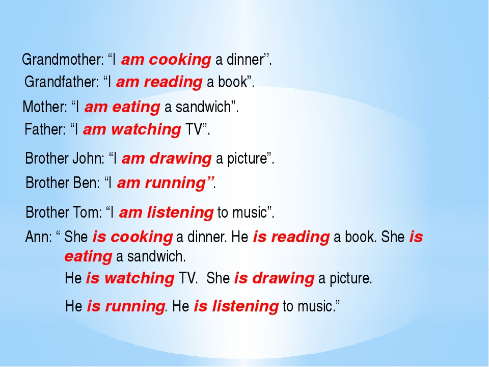 "Grandmother: ""I am cooking a dinner''. Grandfather: ""I am reading a book"". Mo"