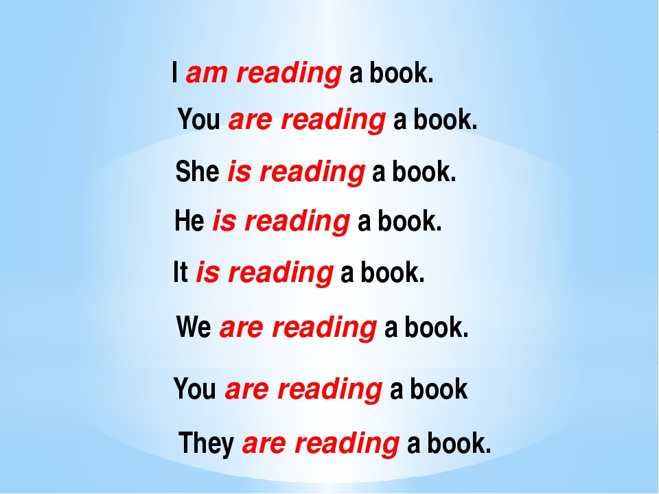 I am reading a book. You are reading a book. She is reading a book. He is rea