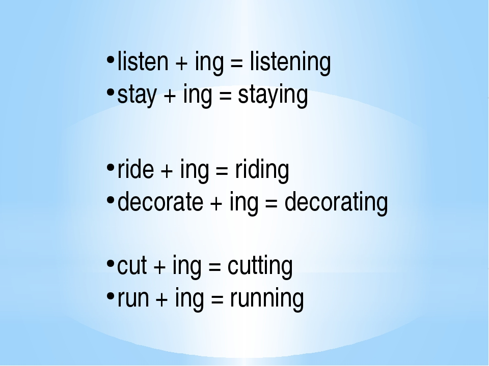 listen + ing = listening stay + ing = staying ride + ing = riding decorate +...