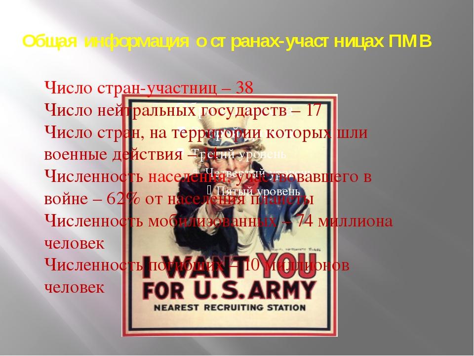 Общая информация о странах-участницах ПМВ Число стран-участниц – 38 Число ней...