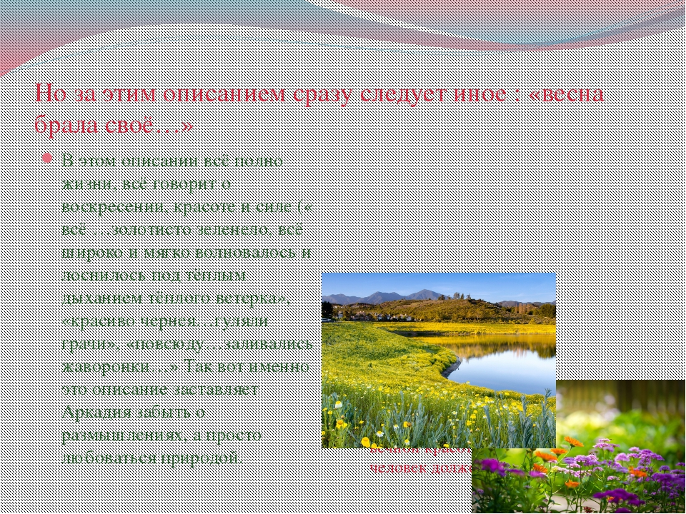 Но за этим описанием сразу следует иное : «весна брала своё…» В этом описании...