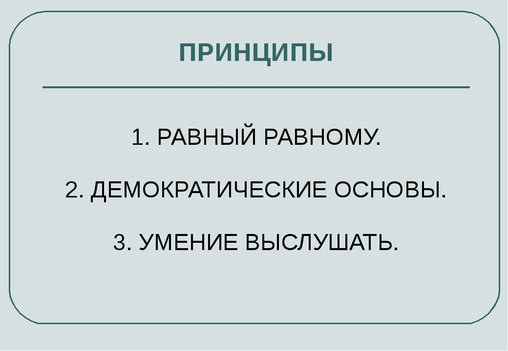 ПРИНЦИПЫ 1. РАВНЫЙ РАВНОМУ. 2. ДЕМОКРАТИЧЕСКИЕ ОСНОВЫ. 3. УМЕНИЕ ВЫСЛУШАТЬ.