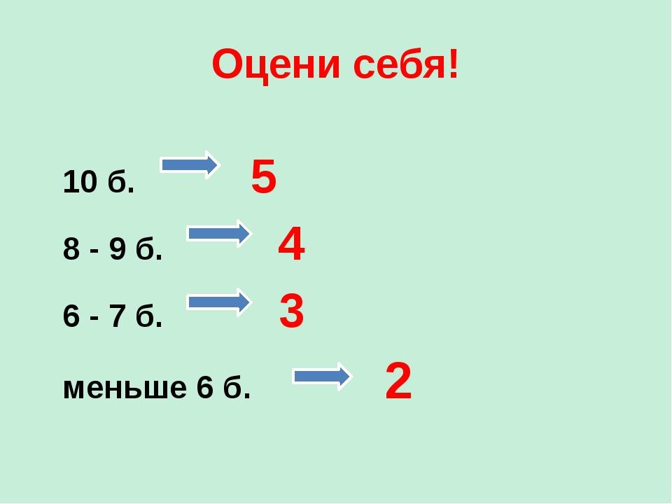 Оцени себя! 10 б. 5 8 - 9 б. 4 6 - 7 б. 3 меньше 6 б. 2