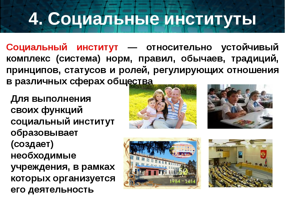 4. Социальные институты Социальный институт — относительно устойчивый комплек...