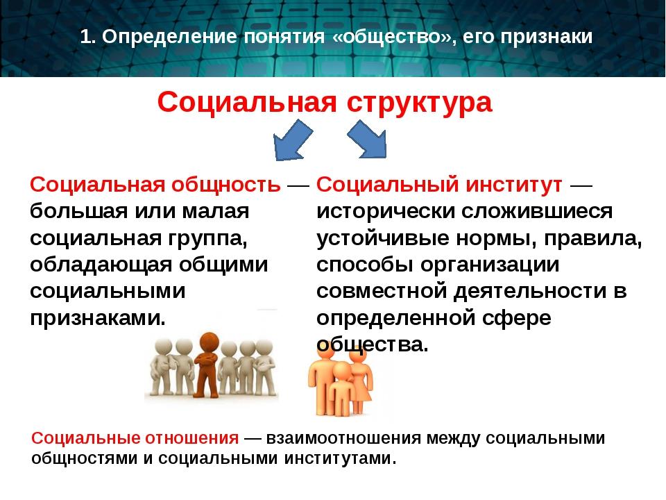 Социальная структура Социальная общность — большая или малая социальная групп...