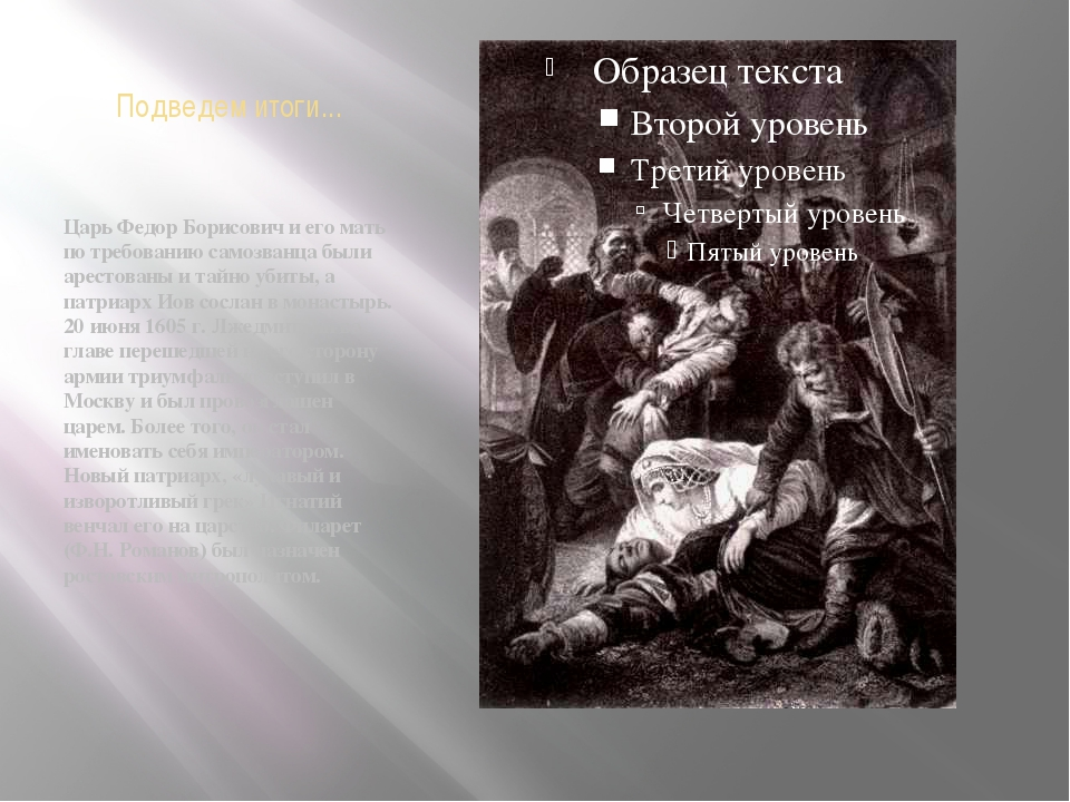 Подведем итоги... Царь Федор Борисович и его мать по требованию самозванца бы...