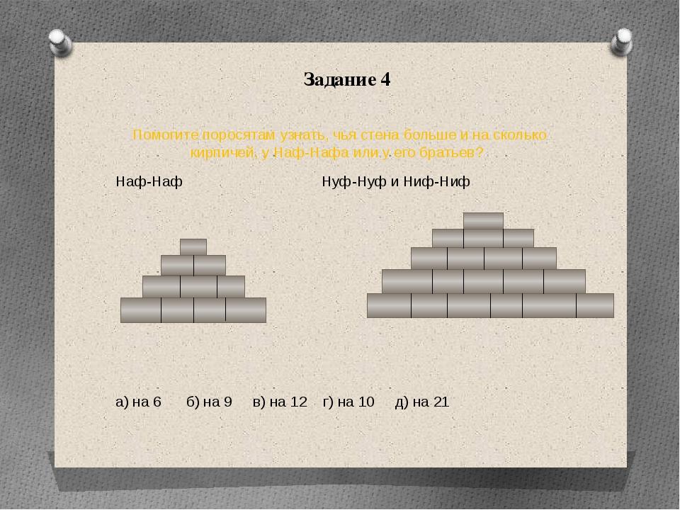 Задание 4 Помогите поросятам узнать, чья стена больше и на сколько кирпичей,...