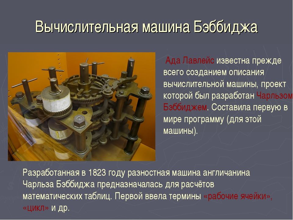 Вычислительная машина Бэббиджа Ада Лавлейс известна прежде всего созданием оп...