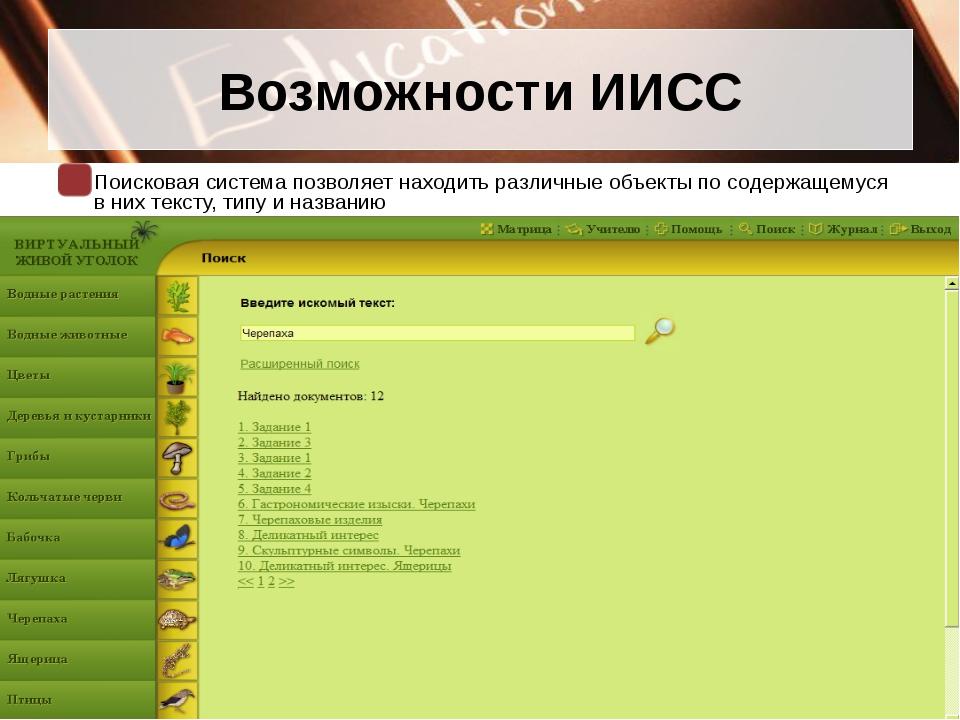Возможности ИИСС Поисковая система позволяет находить различные объекты по со...