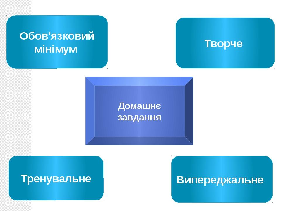 Домашнє завдання Обов'язковий мінімум Творче Випереджальне Тренувальне